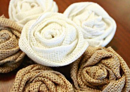 Как сделать цветы из мешковины своими руками фото 828